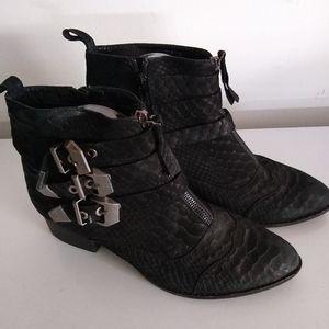 Jeffrey Campbell 9 Strap black booties block heel